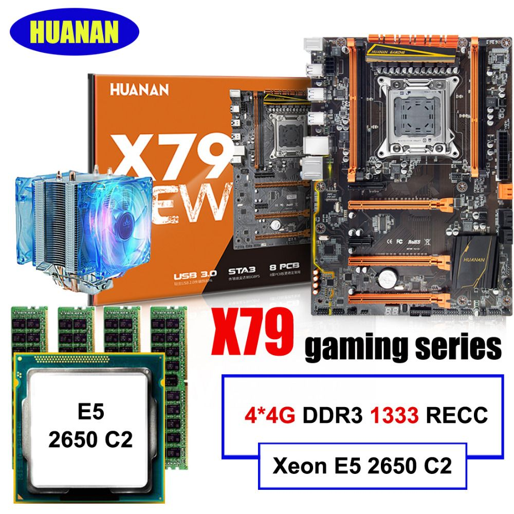 Brand motherboard set on sale HUANAN ZHI deluxe X79 motherboard with M.2 NVMe CPU Xeon E5 2650 C2 with cooler RAM 16G(4*4G) RECC