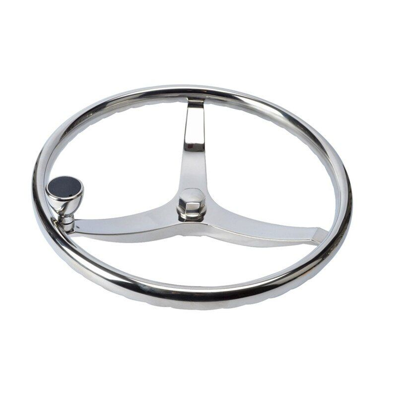 Stainless Steel Boat Steering Wheel 3 Spoke 13-1/2