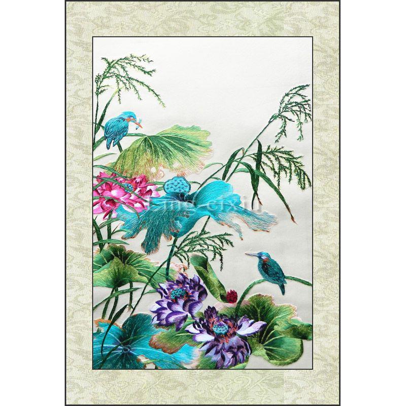 Broderie finie/broderie classique Suzhou/broderie traditionnelle chinoise/point de croix fini-fleurs de Lotus oiseaux