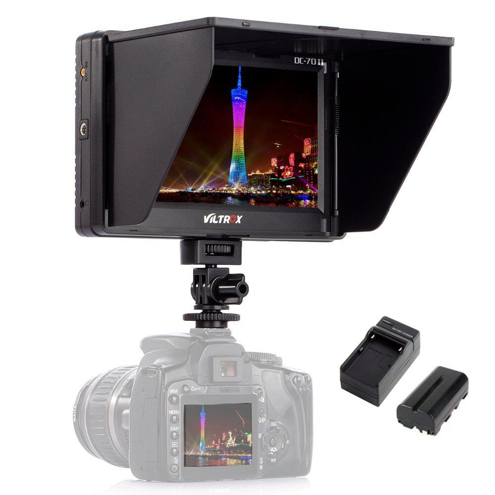 Viltrox 7'' DC-70II Clip-on HD LCD HDMI AV Input 4K Camera Video Monitor Display+Battery+Charger for Canon Nikon DSLR BMPCC