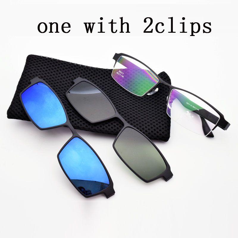 Box Eyeglasses Frame Male Belt Magnet Clip Myopia Glasses Frame Polarized Sunglasses Sand Sunglasses Black Frame Night vision