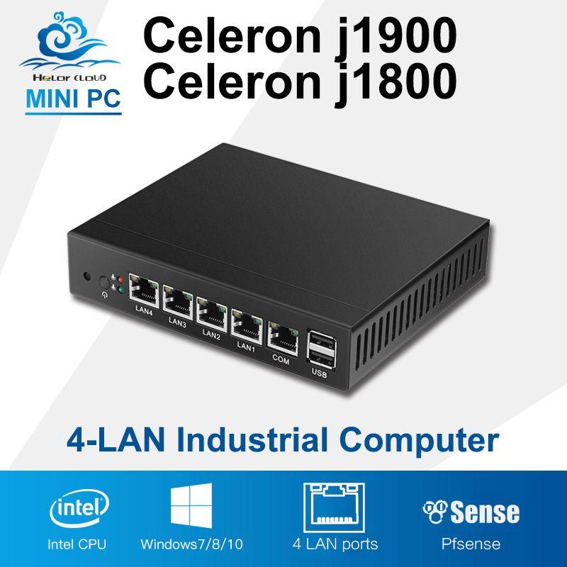 Mini PC Quad Core Tablet Sans Ventilateur 4 LAN Routeur Pare-Feu Celeron J1800 J1900 Windows 10/8/7 HTPC HD Graphique TV Boîte VGA 4 RJ45