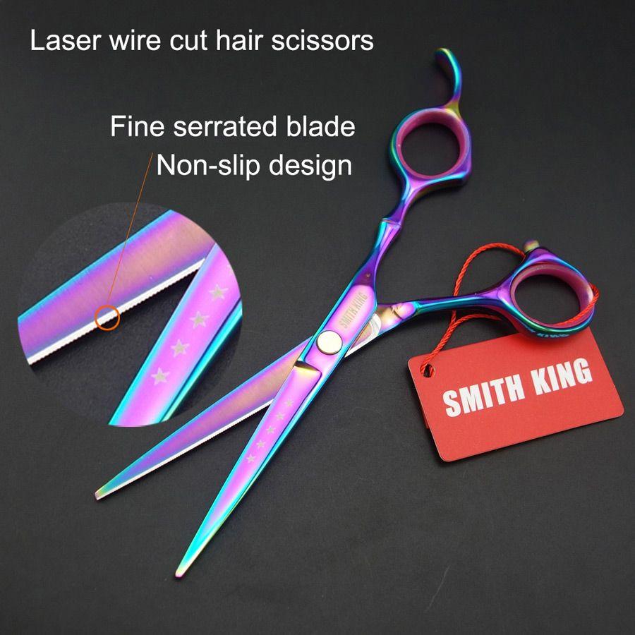 Ciseaux/ciseaux professionnels de coiffure de 6 pouces, ciseaux de coupe de fil Laser coupe de lame dentelée Fine plus précise!