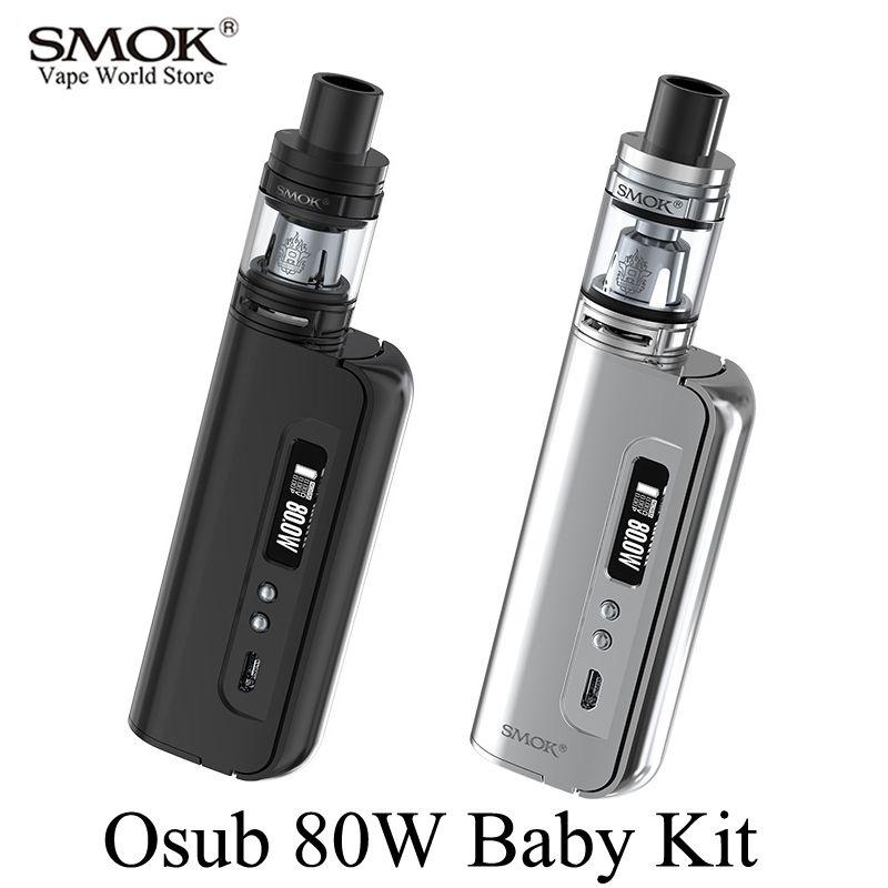 Kit de Cigarette électronique SMOK Osub 80W Kit bébé Vape boîte Mod vaporisateur E Cigarette narguilé Mech Mod avec TFV8 bébé réservoir S052