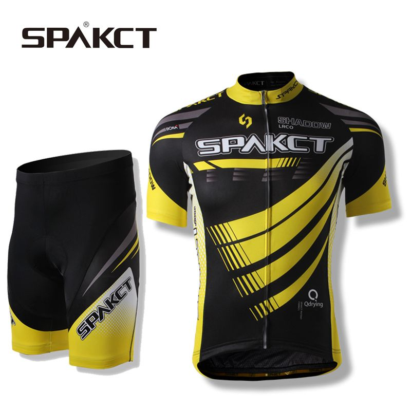 SPAKCT Riding Bike Men's Jacket Sets-Phantom Short Sleeve&Shorts Professional MTB Cycling Sportswear,Black-Yellow