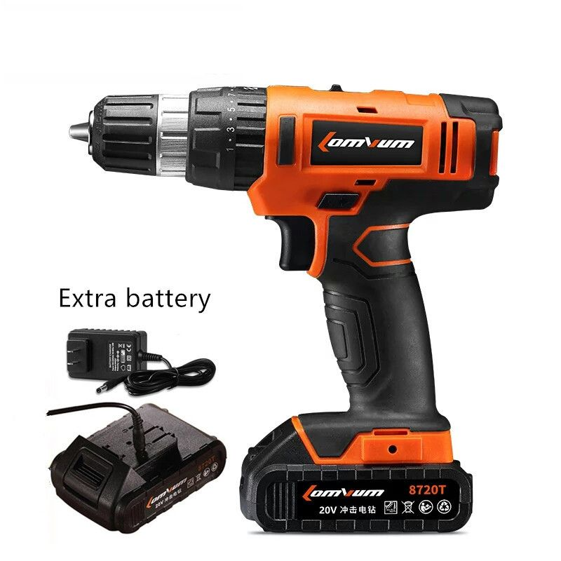 20V impact Drill Adjustable speed Cordless Hammer Industrial drill Concrete wall precision screwdriver additional batteryx2 tool