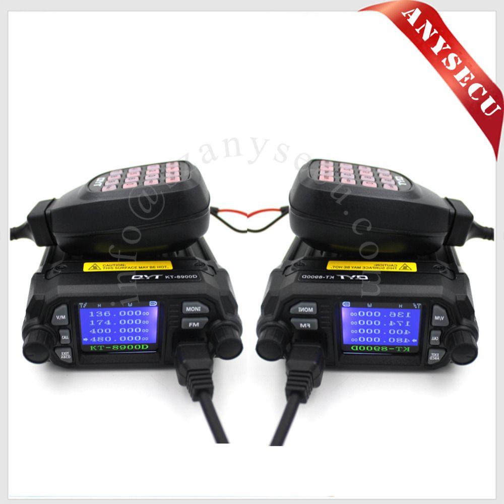 2 шт. Новый продукт! Мини-автомобиль, радио qyt KT-8900D 136-174/400-480 мГц dual band quad дисплее 25 Вт мобильный transicever KT8900D