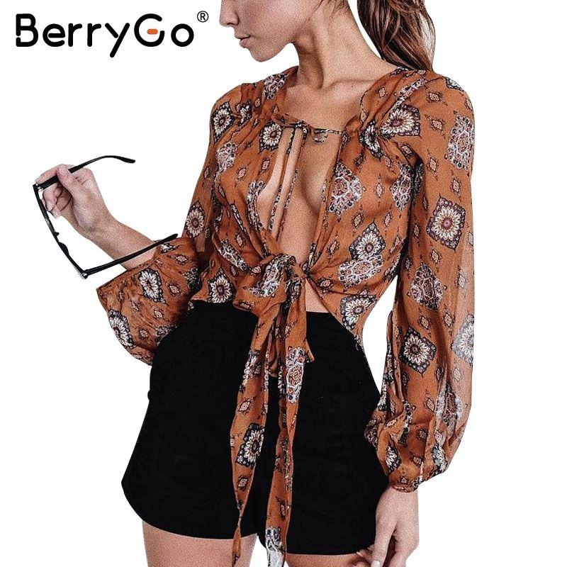 BerryGo imprimer col en v en mousseline de soie blouse chemise femmes d'été à manches longues crop haut chemisier 2019 Sexy streetwear bow femme blouse blusas