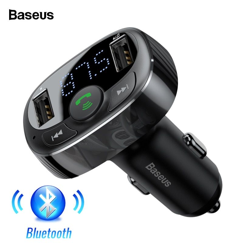 Baseus USB Car Charger Kit Handsfree FM Transmitter Aux Modulator Audio MP3 Player Bluetooth 4.2 Fast Charging Car USB Charger