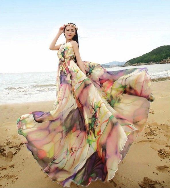 Style d'été licou cou coloré en mousseline de soie Maxi robe Oversize vacances plage robe d'été