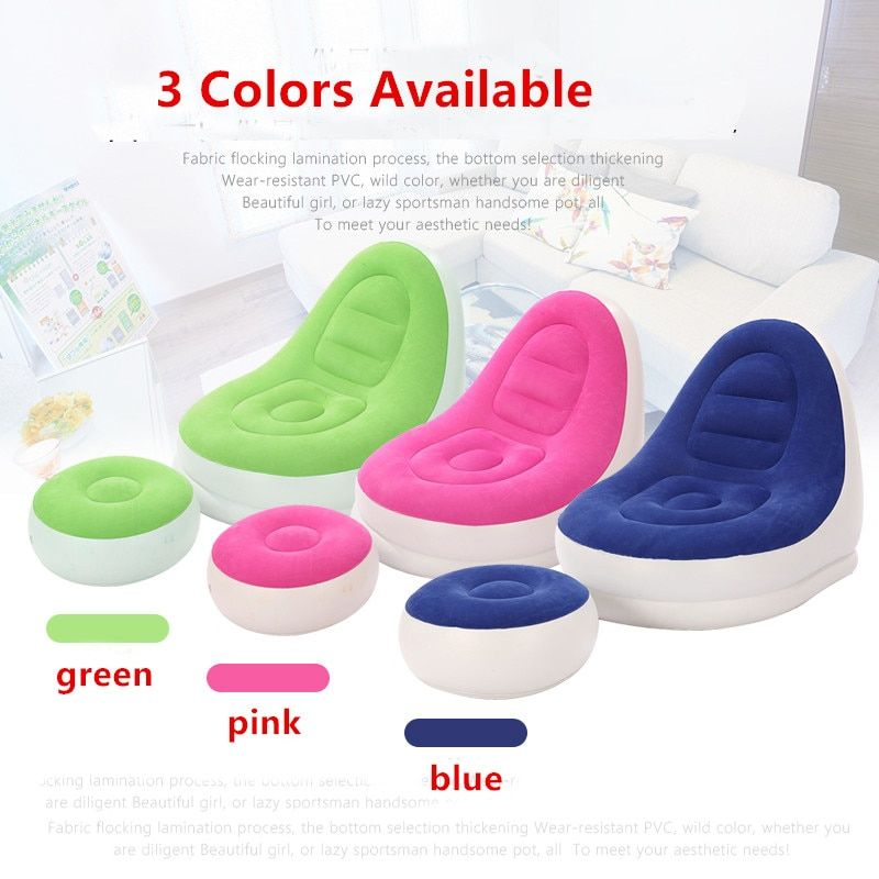 Indoor Outdoor Living Room Flocked PVC Inflatable Sofa Lounge Air Chair With Foot Rest Ottoma Neck Pillow