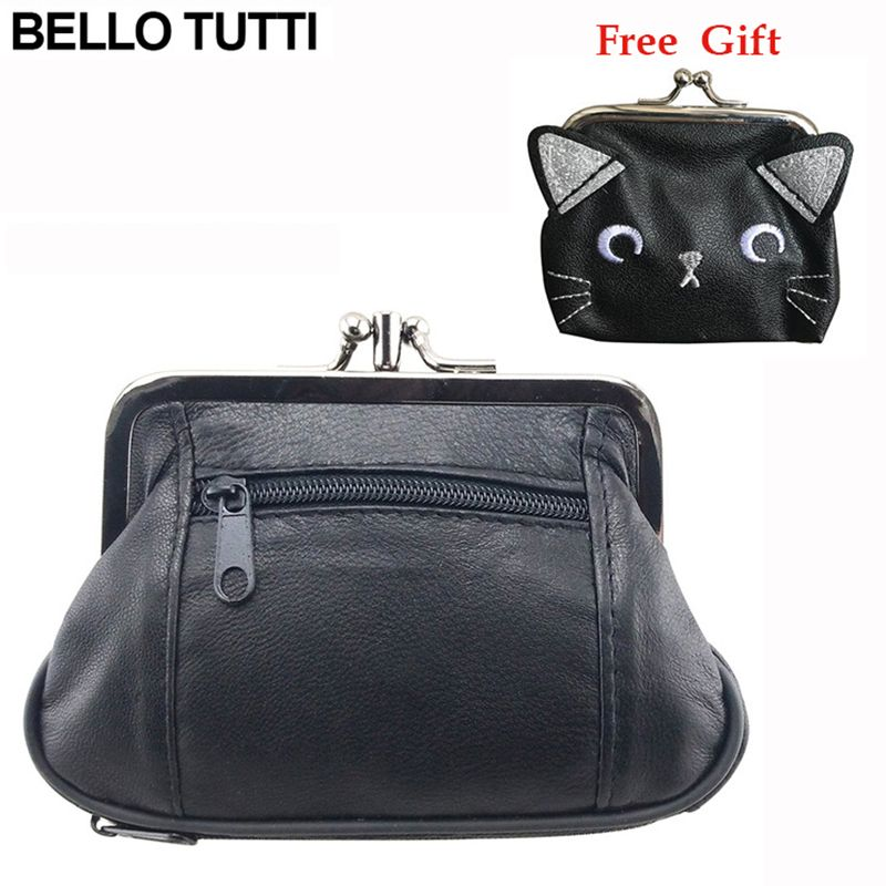 BELLO TUTTI Genuine Leather Hasp Coin Wallet Women's Mini Change Purse With Zipper Female Small Clutch Bag Girls Money Bag Gift