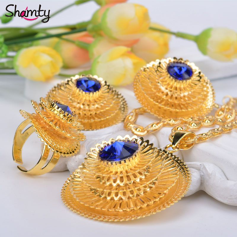 Shamty Ethiopian Sets Jewelry Women Bule Green Red Stone African Pure Gold Color Set Habesha Style Gift A30049