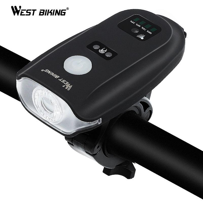 WEST RADFAHREN USB Lade Bike Taschenlampe 350 Lumen Intelligente Sensor Front Licht 5 Modell Radfahren Wasserdichte Fahrrad Scheinwerfer