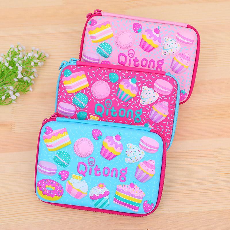 Cute Kawaii School Pencil Case for Kids Boys Girls Pen Box EVA 3D Large Waterproof Penal Pencilcase Cake Bag Stationery Pouch