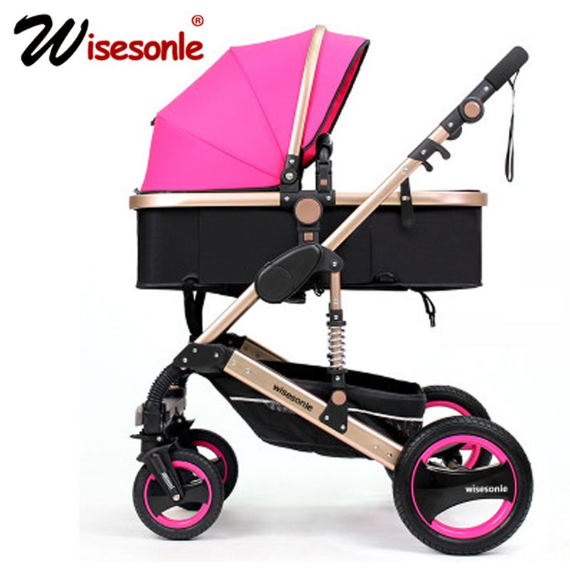 Wisesonle baby stroller 2 in 1 stroller lying or dampening folding light weight Two-sided children's four seasons of Russia Free
