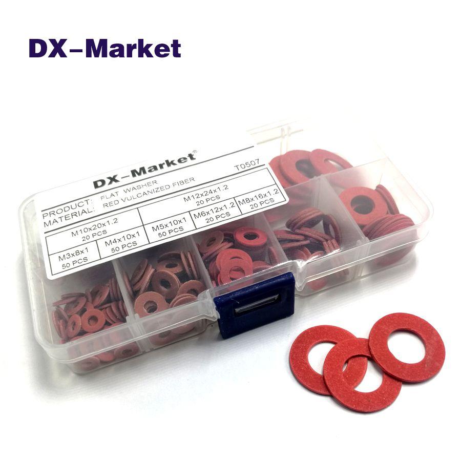 M3 M4 M5 M6 M8 M10 M12 Red vulcanized fiber washer kit , 230 pcs Insulation gasket washers, red Insulating washer , T0507