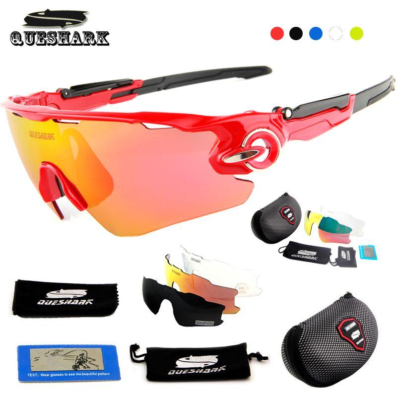 Queshark Polarisierte Sonnenbrille Radfahren Racing Fahrrad Goggles Bike Gläser UV400 TR90 3 Objektiv Tour De France Radfahren Brillen