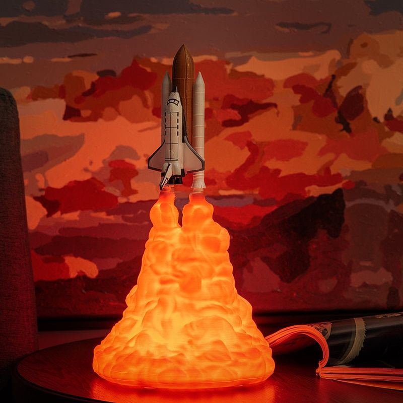 2019 nouvelle livraison directe navette spatiale lampe et lune lampes en veilleuse par impression 3D pour les amoureux de l'espace fusée lampe