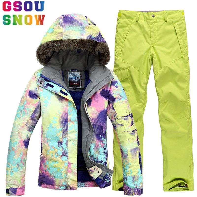 GSOU SNOW Brand Ski Suit Women Ski Jacket Snowboard Pants Winter Mountain Skiing Suits Female Waterproof Cheap Sport Clothing
