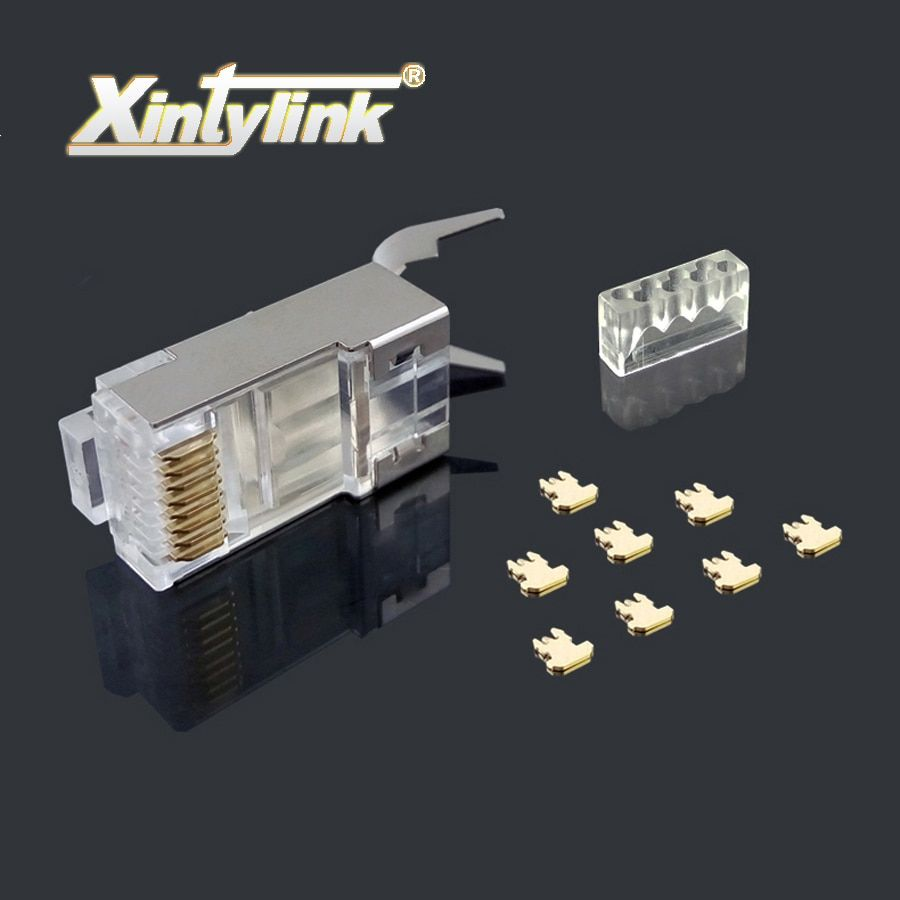 xintylink rj45 connector ethernet cable plug cat7 cat6a male network gold plated 8P8C metal shielded stp 8pin load bar 1.3mm 50u