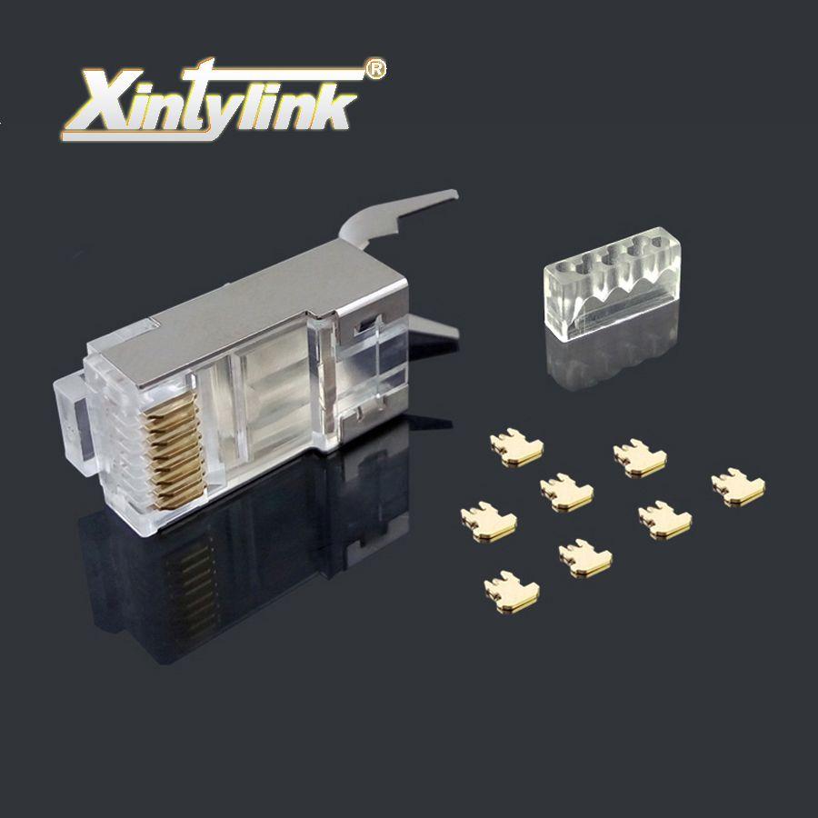 Xintylink rj45 connecteur ethernet câble plug cat7 cat6a réseau mâle or plaqué 8P8C métal blindé stp 8pin charge bar 1.3mm 50u