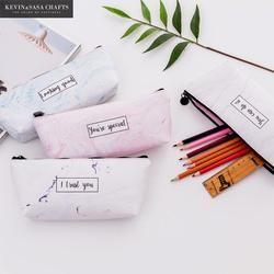 Мраморный кавайный пенал школьные принадлежности качественные печатные ПУ карандаши для хранения Bts пеналы школьные инструменты
