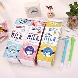 Милый корейский кавайный чехол для карандаша школьный пенал для девочек мальчиков кожаная молочная ручка коробка пенал сумка, школьные при...