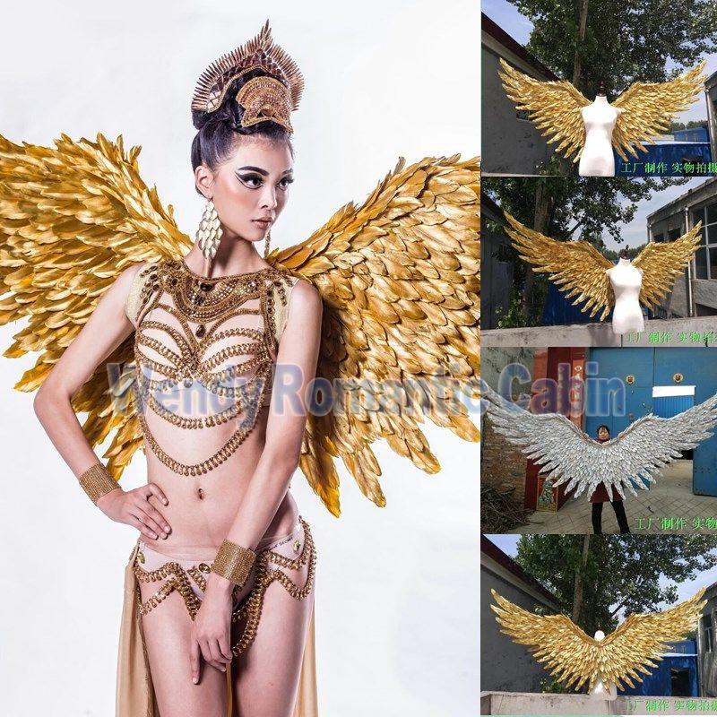 2017 neue stil gold engel flügel requisiten laufsteg zeigen requisiten festival Engel feder-flügel Fenster requisiten unterwäsche zeigen kostüm