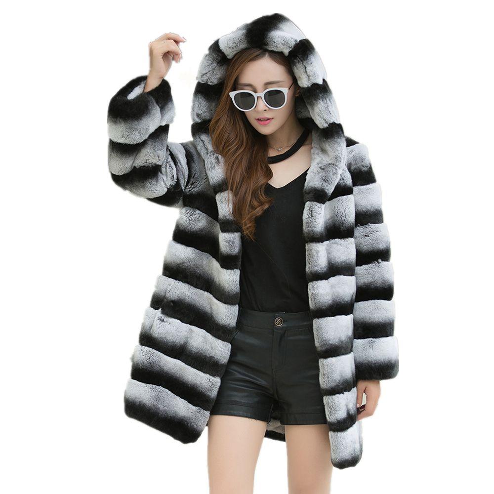 2018 new Women's fur coat A big hat Warm and warm winter fur coat The real Lexus rex rabbit hair