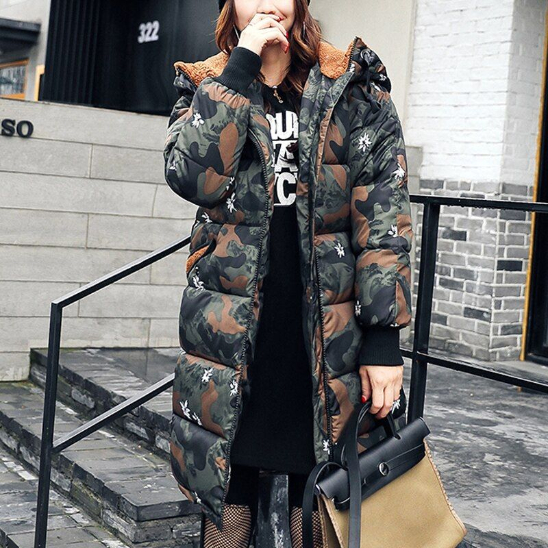 Women Winter Coat 2017 Long Outwear Thick Padded Cotton Jacket For Women Long Sleeve Women Down Parka Clothing Women Plus Size