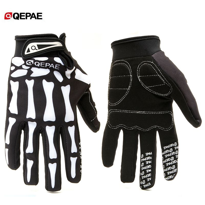 Qeqae Skeleton Pattern Unisex Full Finger Bicycle Cycling Motorcycle Motorbike Racing Riding Gloves Bike Glove for Women and Men
