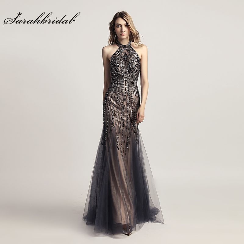 Vestido De Festa New Luxury Style Elegant Long Mermaid Evening Dresses 2018 Crystal Prom DressesFormal Robe De Soiree LSX437