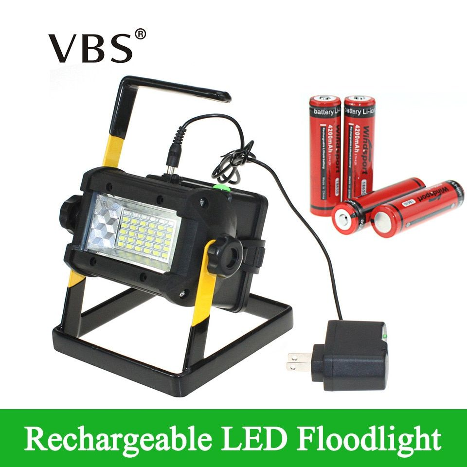 Brightness Waterproof IP65 36LEDS LED Floodlight Portable SpotLights Rechargeable Lamp Include Charger and 4*18650 Battery