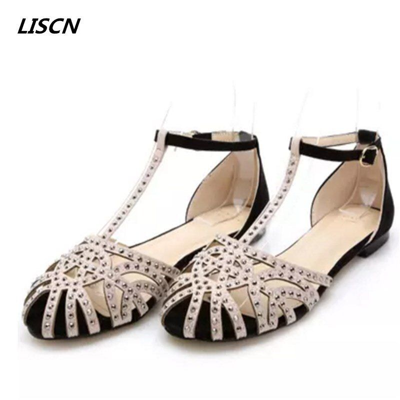 Size 34-41 Brand flat sandals for shoes woman new arrivals cutout fashion the sandals summer shoes rhinestone Hollow shoes