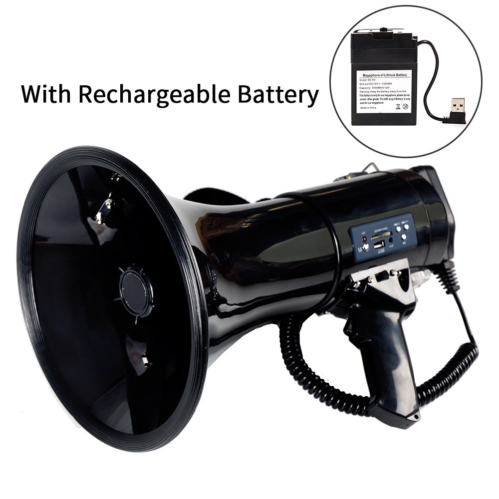 Portable Megaphone 50 Watt Power Megaphone Speaker Bullhorn Voice And Siren/Alarm Modes With Volume Control And Strap