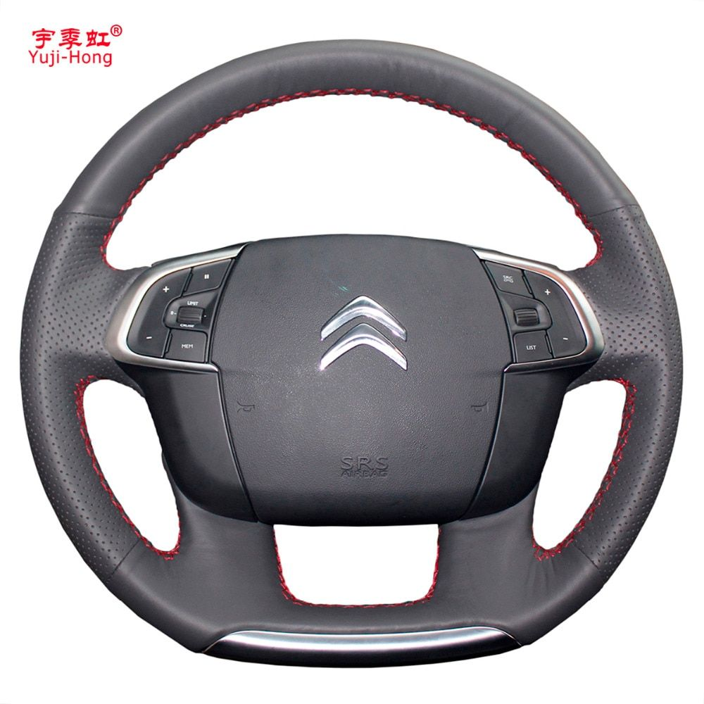 Yuji-Hong Artificial Leather Car Steering Wheel Covers Case for Citroen C4 C4L 2011-2015 DS4 Hand-stitched Cover Black