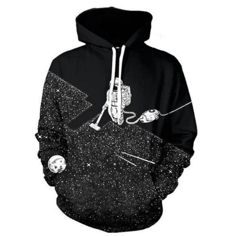 Cloudstyle 2018 Fashion 3D Hoodies Men Space Vacuum Cleaner Astronaut 3D Print Hoody Sweatshirt Tracksuit Polluvers Tops