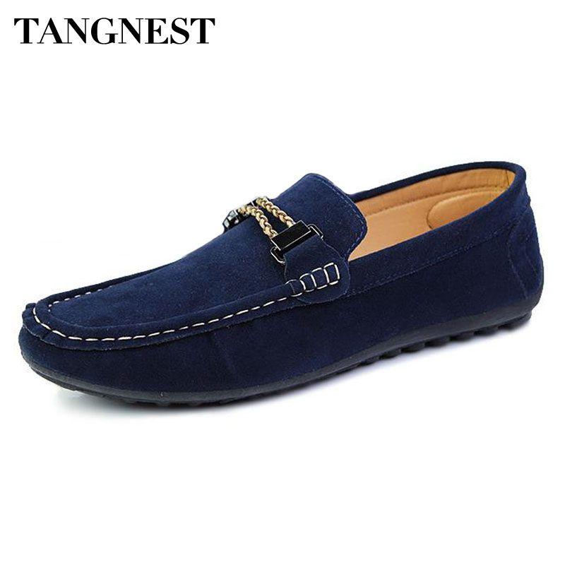 Tangnest Pisos de Los Hombres Guisantes Zapatos Hombre Moda Cuero de LA PU Sólida zapatos de Hombre Perezoso Transpirable Resbalón En Holgazanes Casuales Zapatos de Hombre XMR1474