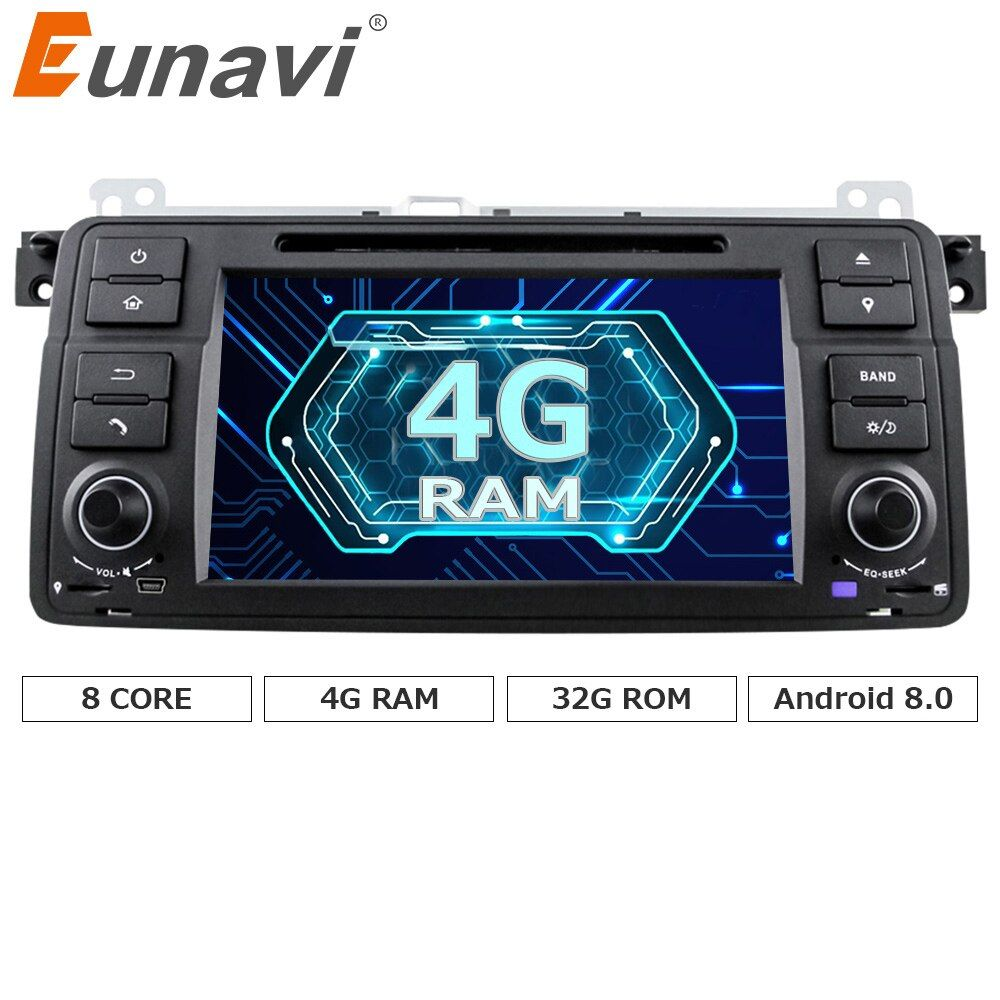 Eunavi HD Octa Core Android 8.0 For BMW E46 M3 Rover 75 Car DVD GPS Wifi 4G Radio RDS Canbus RAM 4GB ROM 32GB 1 Din
