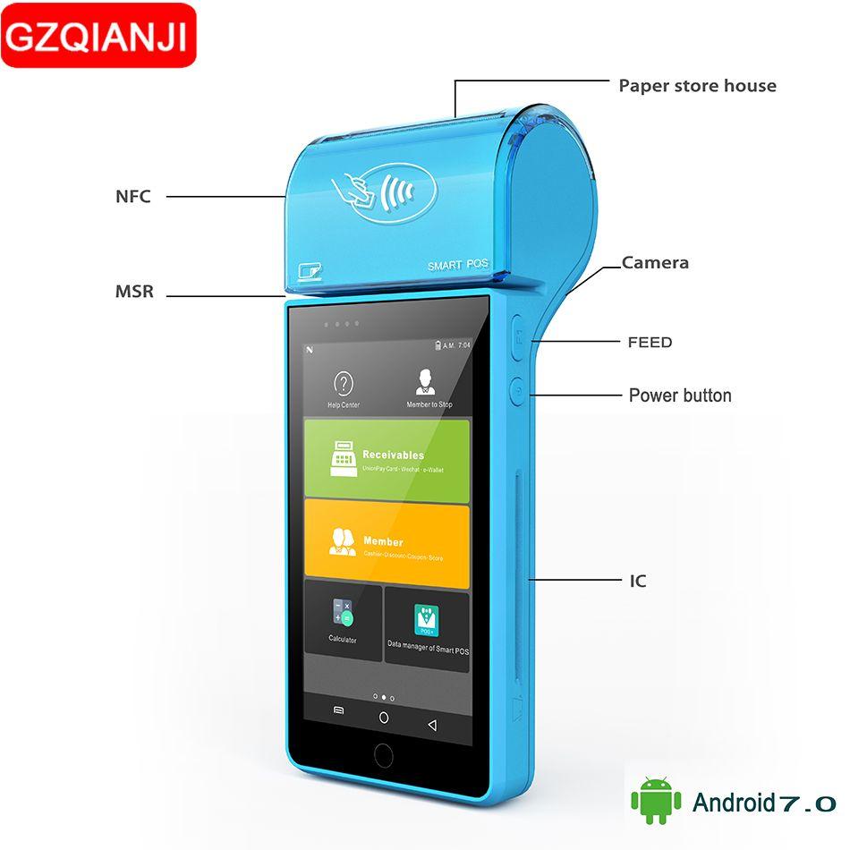 Freies SDK mobilen Handheld-pos reader 1D 2D thermische Pos erhalten drucker wifi barcode scanner handheld terminal Android 7.0 PDA