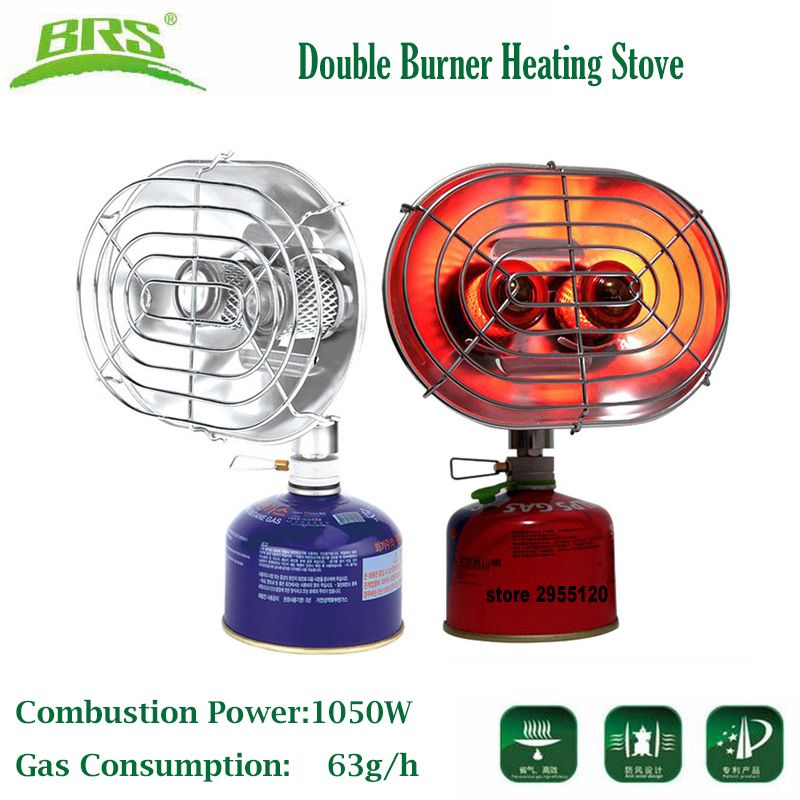 BRS Portable Gas Heater Camping Fishing Warmer Butane Propane Double Burners Heating Stove Infrared Ray Gas Heater Drying Cloth