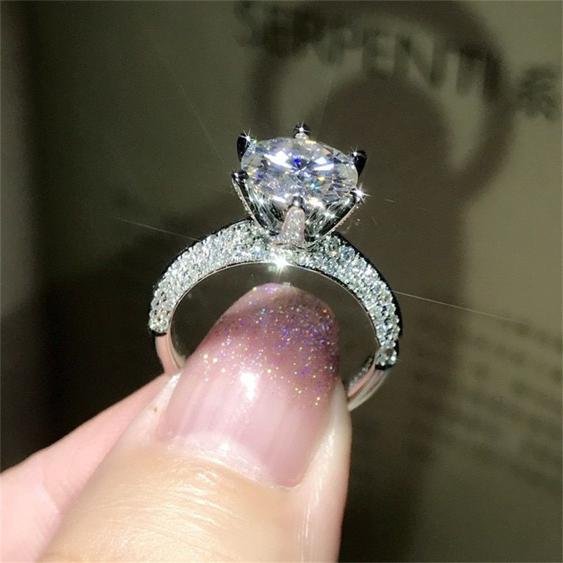 Classic Luxury Real Solid 925 Sterling Silver Ring 2Ct 10 Hearts Arrows SONA Diamond Wedding Jewelry Rings Engagement For Women