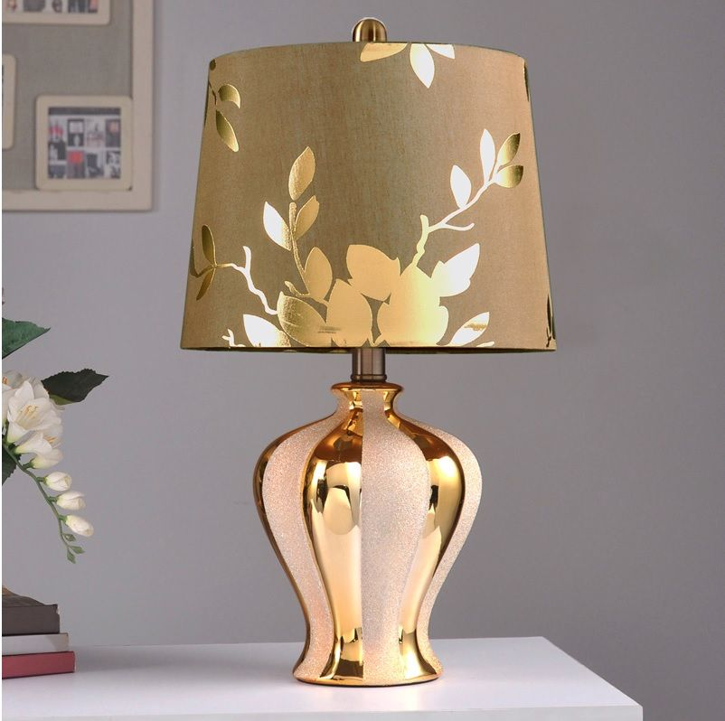 47.5cm Bronzing Bottle Lamp with Silver Grit Blasting Decor / Brown Silk Fabric Shade with Golden Linen