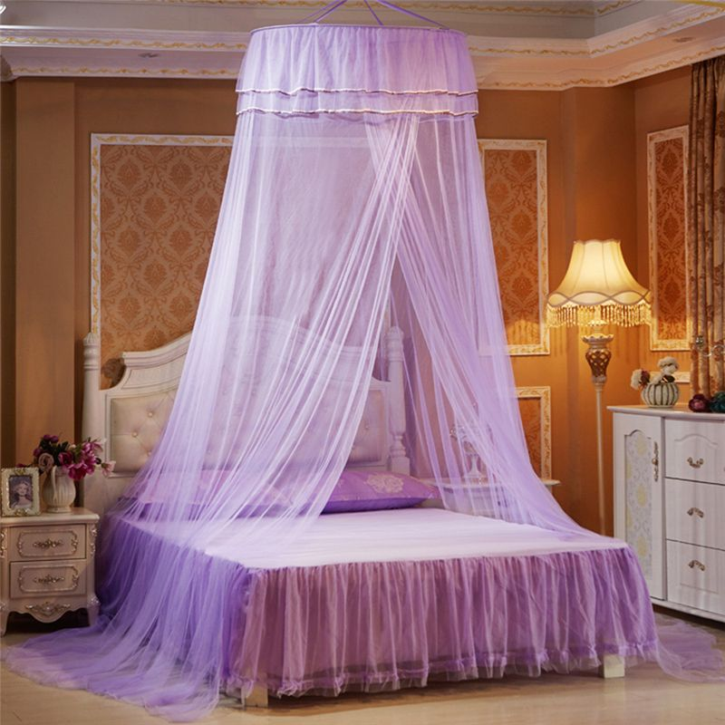 Princess Hanging Round Lace Canopy Bed Netting Comfy Student <font><b>Dome</b></font> Mosquito Net for Crib Twin Full Queen Bed