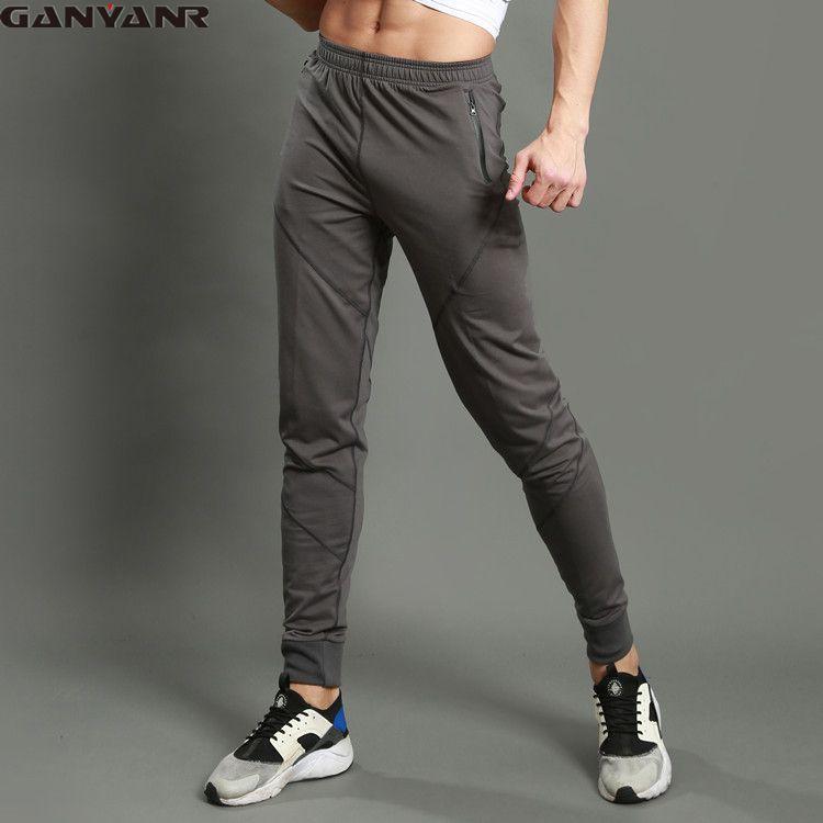 GANYANR Brand Running Pants Men Sportswear Fitness Legging Sports Gym Football Sweatpants Polyester Winter Solid Polyester Long