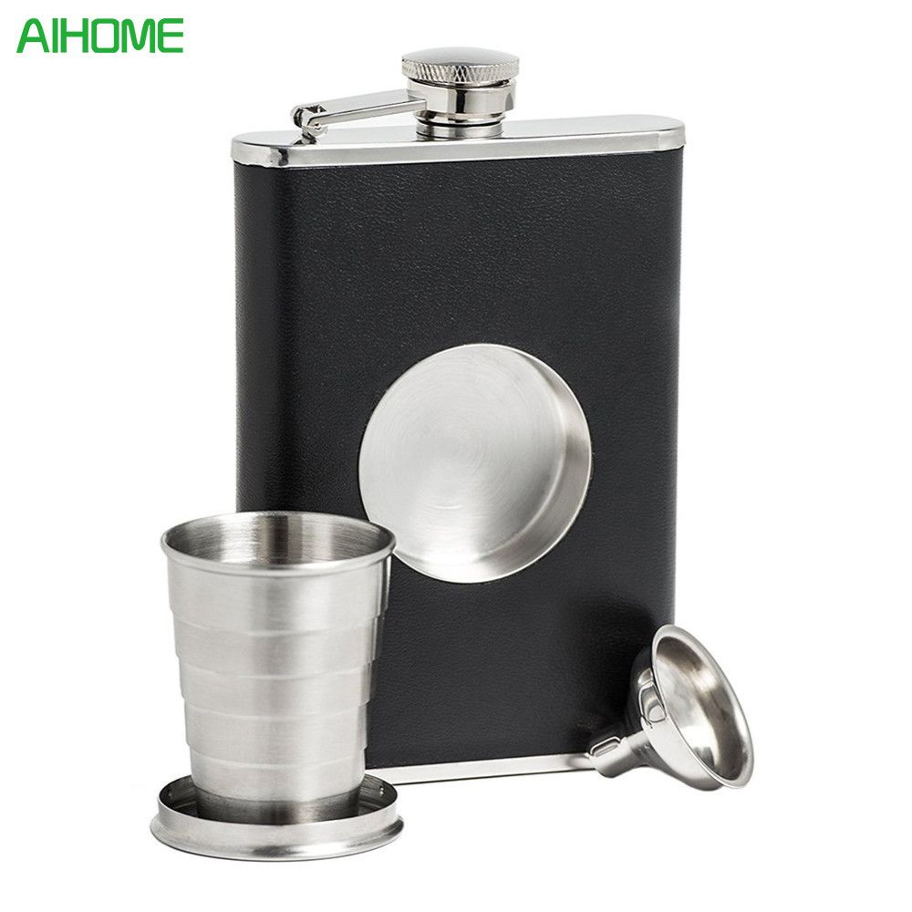 Portable Stainless Steel Hip Flask Creative Folding Telescopic Shot Flask Wine Carrier Container a Funnel Included