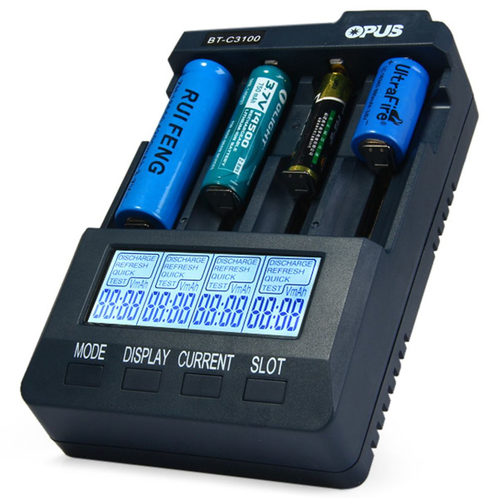 Opus BT-C3100 V2.2 Smart Digital Intelligent 4 LCD Slots Universal Battery Charger For Rechargeable Battery