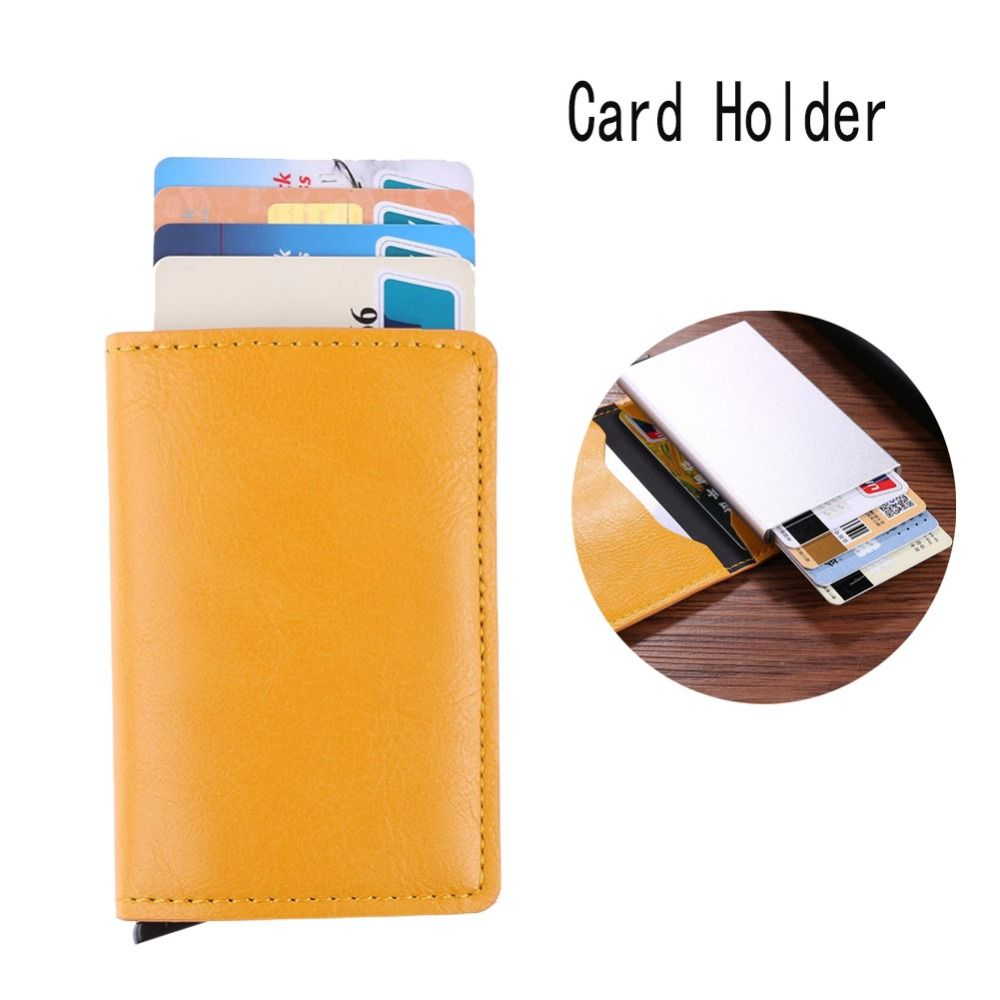 Livraison directe mâle métal support de carte rfid en alliage d'aluminium porte-carte de crédit portefeuille en cuir synthétique polyuréthane antivol hommes automatique étui à cartes