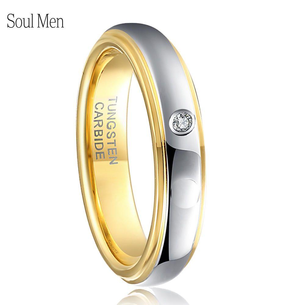 4MM or argent couleur tungstène anneau pour les femmes de mariage bande avec cubique Zircon pierre Alliance bijoux de mariée taille américaine 4-9